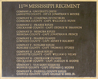 Plaque displaying the names of the 11th Mississippi's company commanders, Gettysburg, Pennsylvania