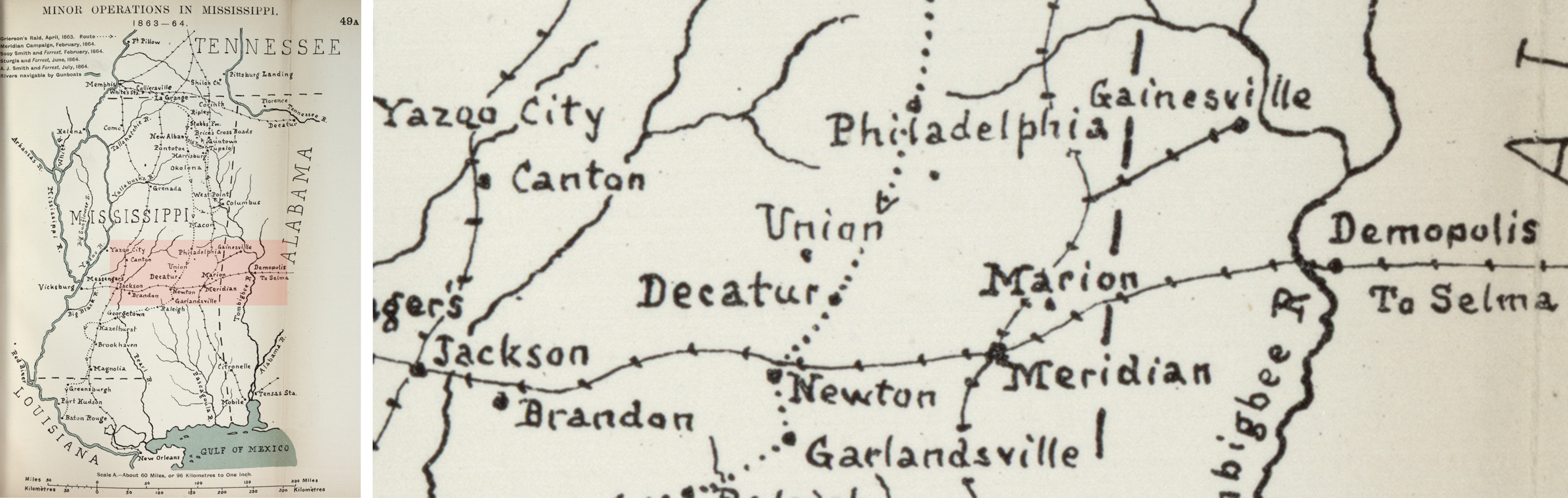 "Detail of Minor Operations in Mississippi, 1863-1864 in John Formby's ""The American Civil War."" Library of Congress"